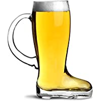 Diseño de jarra de cerveza de cristal con asa para 1,75 L - bota de cristal con mango de estilo alemán zapatero para