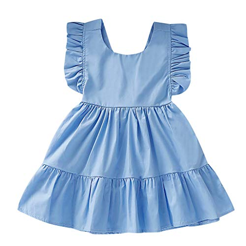 Fenverk Kleid MäDchen, Toddler MäDchen äRmellos Sommerkleid Party Prinzessin Dress Casual T-Shirt FrüHlings Herbst Cocktailkleid(Blau-02,18-24 Monate)