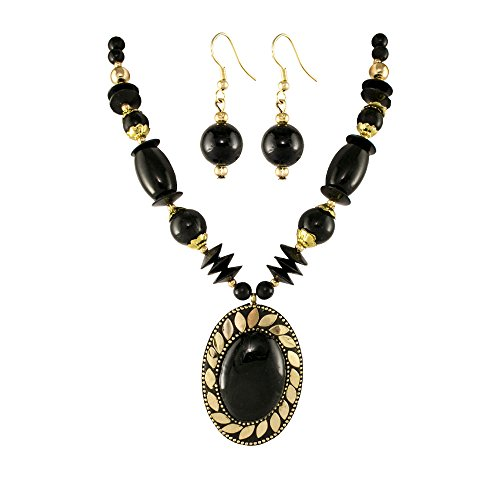 Unicorn Black Beaded Oxidized Junk Ethnic Jewellery Necklace with Earrings For Girls & Women - UEFYNE30106BL  available at amazon for Rs.399