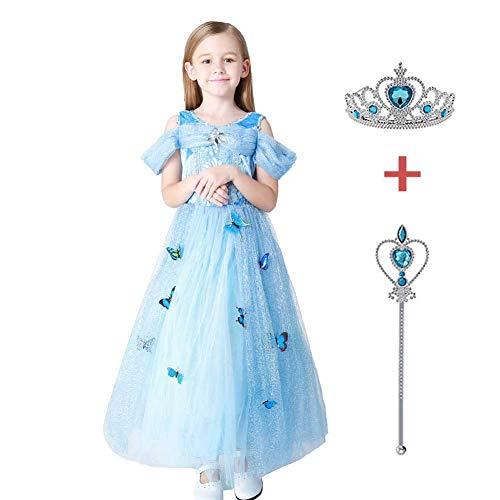 Beängstigend Kleinkind Kostüm - GLXQIJ Kinder Mädchen Halloween Kostüm Party Cosplay Prinzessin Kleid Kostüm, 3D Schmetterling Dekor, Mit Kopfbedeckung & Zauberstab,Blue,140CM