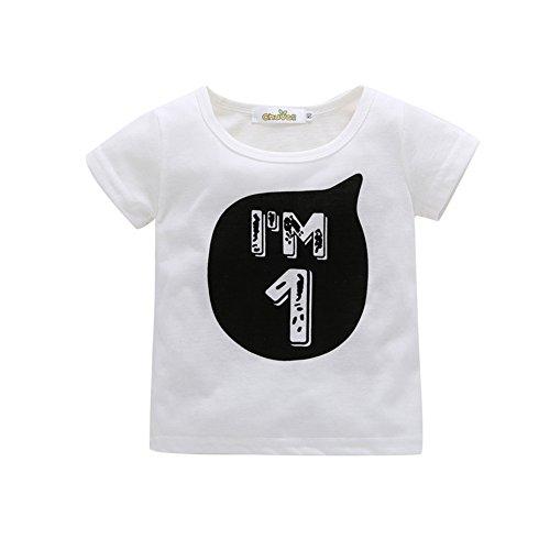 Blaward Unisex Mädchen Jungen Geburtstag T-Shirt Kurzarm Tops Brief Gedruckt Sommer Kleidung 0-6Jahre (1. Jungen-geburtstag Shirt)