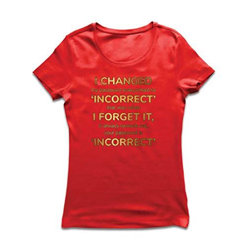 lepni.me Frauen T-Shirt Wie Man EIN sicheres Passwort erstellt, Programmierer, Spieler, Internet-Spaß-Geschenk (X-Large Rot Mehrfarben)