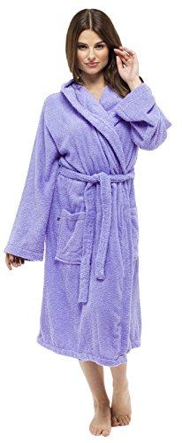 Holiday Damen Tasche (Damen Bademantel 100% reine Baumwolle Luxus Frottee-Bademantel mit Gürtel und Taschen Nachtwäsche Damen Mädchen Gr. 34 - 44 Gr. Medium, Lilac - Hooded)