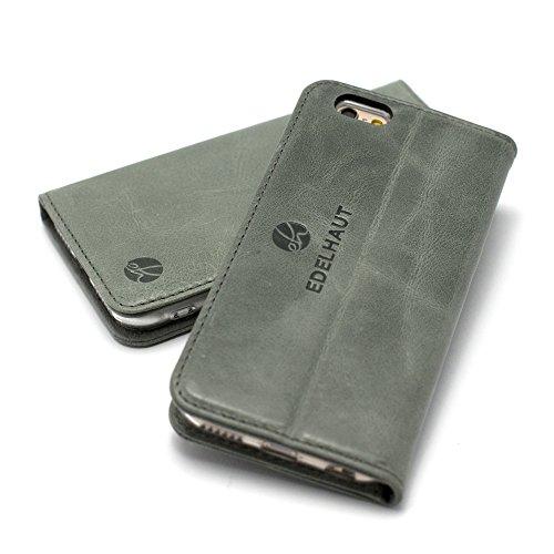 EDELHAUT Handytasche V3.0 mit unsichtbarem Magnetverschluss in grau für Apple iPhone 6 und 6S 4.7 aus echtem Leder