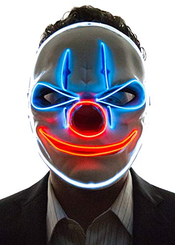 UELEGANS Halloween LED Leuchtmaske, kaltes Licht Halloween Party Party Clown rote Nase Fluoreszierende - Einfache Last Minute Cosplay Kostüm