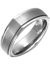 Theia Unisex-Ring Titan Flach Court Quadratisch metallisch 7mm