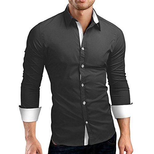 JiaMeng Polos Manga Larga Hombre Camisa de Vestir de Corte Slim sólida Formal Informal(Gris,XXXL)