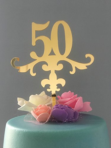 ShinyBeauty 50 Geburtstag Topper, edel 50. Geburtstag Topper, fünfzigsten Geburtstag Kuchen Topper Goldglitter Cake (Prinzessinnen Aller Liste Disney)