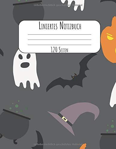 120 Seiten: A4 Tagebuch I Kladde I Schreibheft I Notizblock für Halloween Liniert mit Softcover und schönem Kürbis und Geister Cover ()