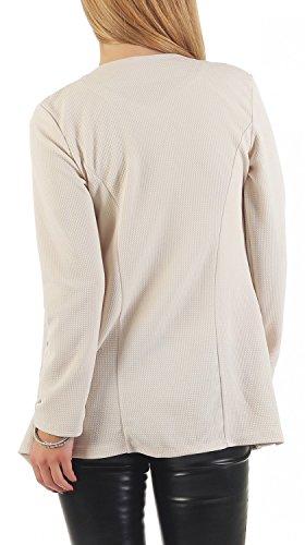 Danaest - Veste de tailleur - Blouson - Uni - Manches Longues - Femme Beige