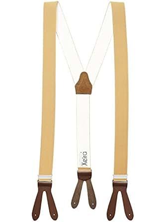 Hochwertige Hosenträger von Xeira® in Uni & Neon Farben mit Lederriemen - Verfügbar in XXXL 150cm Länge - Made in Germany- Schwarz / Braun / Grau / Blau / Gelb / Grün / Orange (XL -125cm, Beige / Braun)