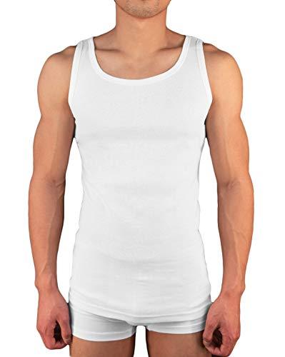 S/s Unterhemd (4er Pack Herren Unterhemd Achselshirt Tank Top aus 100% Baumwolle feinripp (glatt) in weiß, grau oder schwarz von M - 3XL (S, Weiss))
