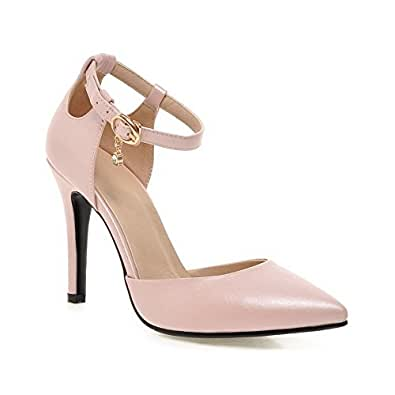AgooLar Women's Solid PU Spikes Stilettos Pointed Closed Toe Buckle Pumps Shoes, Pink, 42