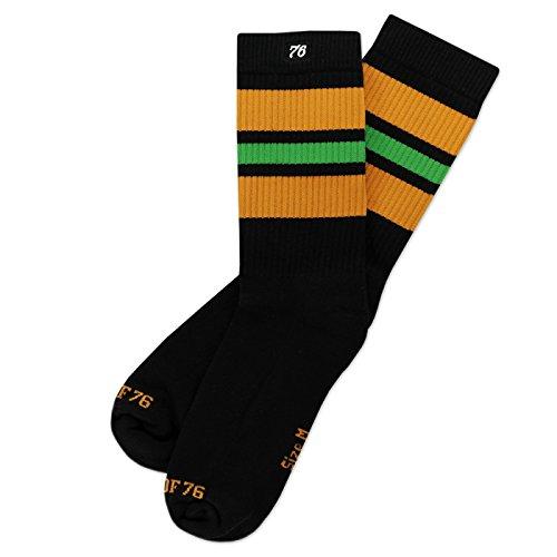 Skate 70's Kostüm Roller (The orange Light greens | Retro Socken von Spirit of 76 | Schwarz, Orange & Grün gestreift | knöchelhoch | Unisex Strümpfe Size L)