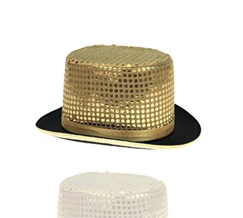 TK Gruppe Timo Klingler Partyhut Gold Zylinderhut Party Glitzer Hut mit Pailetten Pailettenhut für Fasching & Karneval Erwachsene Damen & Herren (Gold)