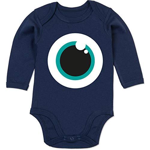 Shirtracer Karneval und Fasching Baby - Auge Kostüm grün - 6-12 Monate - Navy Blau - BZ30 - Baby Body - Linkes Auge Kostüm