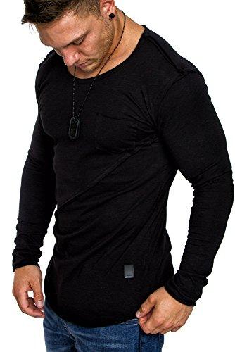 Amaci&Sons Oversize Herren Longsleeve Vintage Crew Neck Sweatshirt Rundhals Basic Shirt 6056 Schwarz M