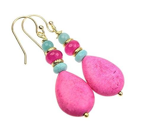 Ohrringe vergoldet Ohrhänger pinker Türkis Opal Achat Amazonit