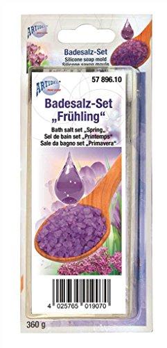 CREARTEC Badesalz Set zum selber machen - Typ Frühling mit Flieder Duft und Lila Farbe - Wellness zum selber machen und verschenken - Made in Germany