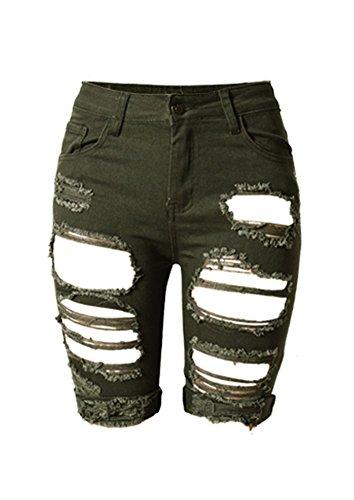 iRachel Damen Denim Stretch Jeans Hohe Taille Short Kurze Hose Ripped Loch Hose - Grüne Jeans-shorts