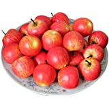 Voberry 50 Pcs Home Furnishing Artificial Apple Plastic Ecorative Fruit Photographic Props Red