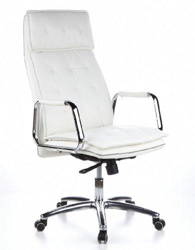 hjh OFFICE 600922 Chefsessel Bürostuhl VILLA 20 Nappa-Leder Weiß Büro-Drehstuhl Hohe Rückenlehne Kopfstütze Armlehne Sessel XXL