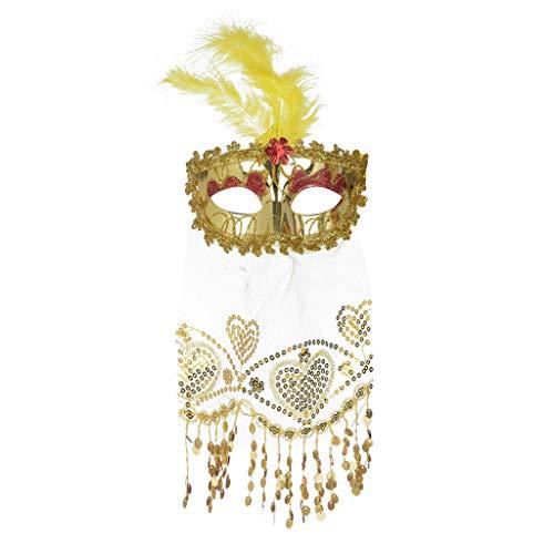 Laile Halloween Masken 18x10cm Rose Brilliant Masquerade Mask für Damen Oriental Fluffy Feather Venezianische Maske Party Festival Ideale Maske Hochzeit Karneval Fasching - Brilliant Paar Kostüm