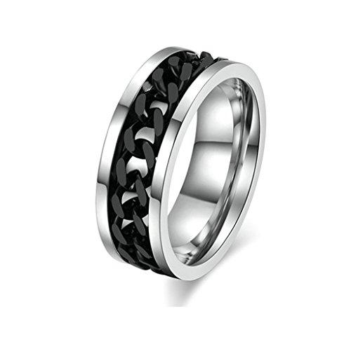 AmDxD Schmuck Herren Ringe Edelstahl (mit Gratis Gravur) Kette Form Ehering Silber Schwarz Größe 15 (Brettspiel Paar Kostüme)