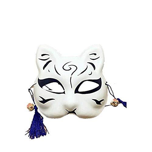 MMMMM Gesichtsmaske Schild Schleier Wache Bildschirm Domino falsche Vorderseite Handbemalte halbe Gesichtsmaske Katze Ball Maske,White