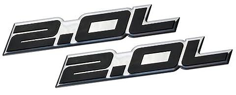 2 x (pair/Set) 2.0L Liter Embossed BLACK on Highly Polished Silver Real Aluminum Auto Emblem Badge Nameplate for Ford Edge Escape SEL Escort Explorer Focus SE SES ZX3 ZX4-SE ST SVT Fusion Transit XL XLT Dodge Colt Ram 50 Dart Rallye SE Aero Caliber SE Express Neon ES SXT Avenger Intrepid Plymouth Laser Neon Jeep Patriot Latitude 4WD Compass VVT DOHC Chevrolet Chevy Cobalt HHR SS Tracker LSi Malibu LTZ Sedan coupe 2 3 4 5 2dr 3dr 4dr 5dr door hatchback turbo turbocharged