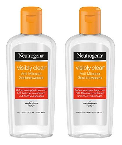 Neutrogena Visibly Clear Anti-Mitesser Gesichtswasser - Klärendes Reinigungswasser für das Gesicht gegen Unreinheiten und Mitesser - 2 x 200ml