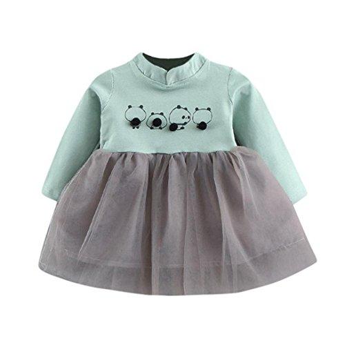 Mädchen Prinzessin Kleid,OverDose Kleinkind Baby Kind Mädchen Langarm Panda Gestrickte Bogen Neugeborenen Tutu Prinzessin Kleid 0-24 Monate (6-12 Monate,B-Grün)