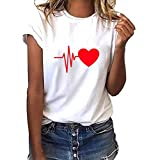 VICGREY  Donna Maniche Corte,Divertenti Vintage Tumblr Magliette Donna Manica Corte estive Ragazza t Shirt Donna Maglietta Stampata a Maniche Corte Cuore a Maniche Corte da Donna Moda