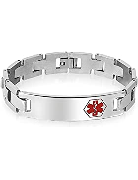 Bling Jewelry Mens Medical Alert ID-Tag Stahl Armband 8 in