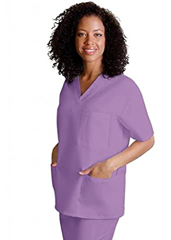 Adar Medical Unisex V-Neck Tunic 3 Pocket Scrub Top - 601 - Lavender - L