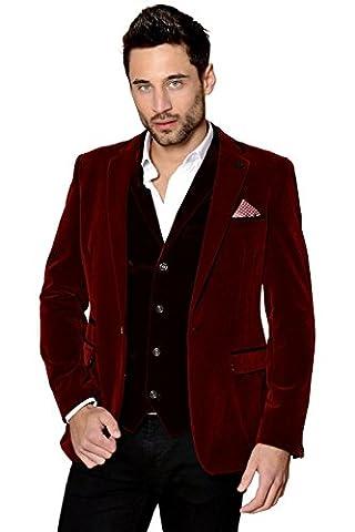 Mens Marc Darcy Designer Wine Red Velvet Blazer Jacket Size 34-52 Available - 42R
