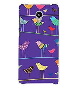 Animated Colourful Birds in Blue Background 3D Hard Polycarbonate Designer Back Case Cover for Meizu m3 Note::Meizu Blue Charm Note3