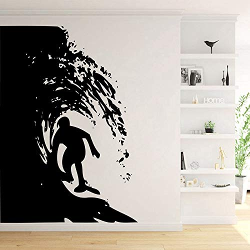 Large Size Surfing Wall Art,Surfer Riding Waves Vinyl Wall Art Graphic Stickers Gray 165x216cm - Messen Gucci