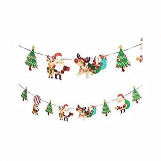 nicebuty Navidad bandera bordada tela fieltro guirnalda Buntings Banner Cadena bandera de fiesta Decor