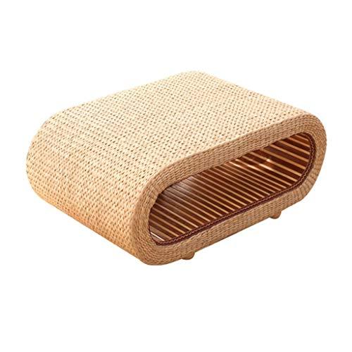 Gartenmöbel & Zubehör Tische Massivholz Couchtisch Rattan runder Couchtisch Stroh Tatami-Plattform kreative Computer-Schreibtisch, interner Speicher (Color : Wood, Size : 60 * 45 * 35cm)