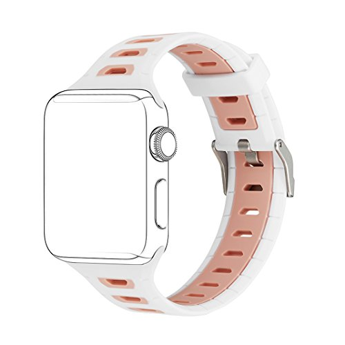 Price comparison product image For Apple Watch Straps 38mm AISPORTS iWatch Strap 38mm Silicone Smart Watch Band Replacement Strap with Stainless Steel Bracelet Buckle Clasp Wrist Band for 38mm Apple Watch Series 3 / 2 / 1 Sport Edition - White / Pink