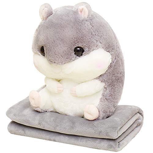 Mjia Pillow Plüschtiere,Kreative Netter Plüschtier Kissen Geschenk Für Kinder/Erwachsene,3 in 1 süße Hamster Korallen Samt Klimaanlage Auto Decke/Wurfkissen, grau