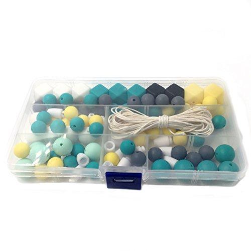 Coskiss Silicone legno Beads dentizione Nursing collana fai da te silicone dentizione Kit geometrica esagonale in silicone Perline di legno dentizione collana Teether Giocattoli per bambini (S408)