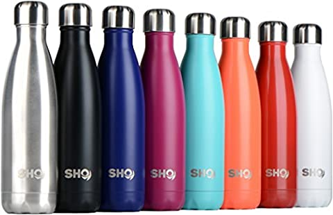 YOUR Bottle! by SHO - Ultimate Vacuum Insulated, Double Walled Stainless Steel Water Bottle & Drinks Bottle - 24 Hours Cold & 12 Hot - 500ml, 750ml & 1litre (1000ml) - Perfect Sports Water Bottle, Vacuum Flask Bottle & Everyday Water Bottles - BPA Free - Lifetime Guarantee (Original Stainless Steel, 500ml)