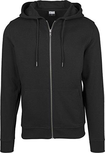 Urban Classics Herren Kapuzenjacke Basic Zip Hoodie - einfarbiges Sweatshirt mit Kapuze, Kapuzenpullover mit Reißverschluss - Farbe black, Größe M