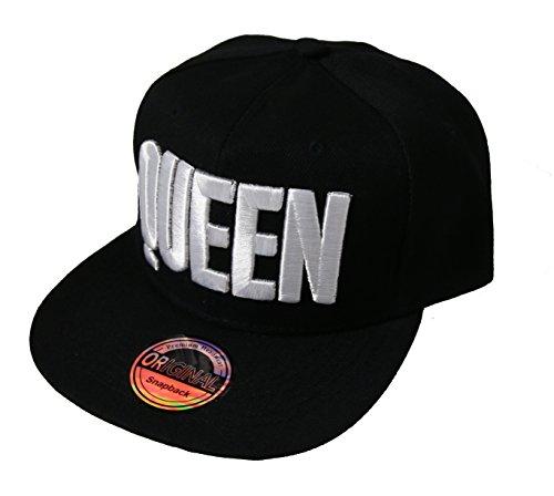 King Queen Snapback Cap Caps Herren Damen (Queen schwarz weiß)
