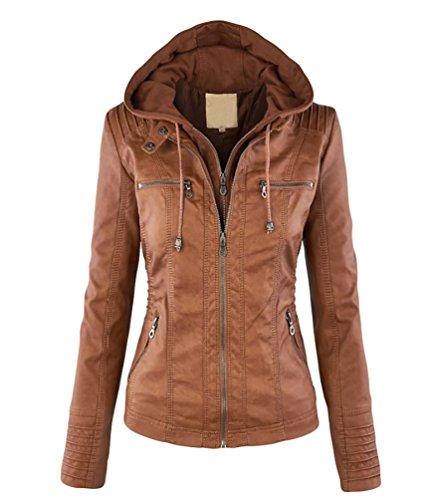 NiSeng Giacche Ecopelle Manica Lunga Moto Invernali Giubbotto Finta Pelle Vintage Cappotti con cappuccio Donna Cachi Asia M / EU 40