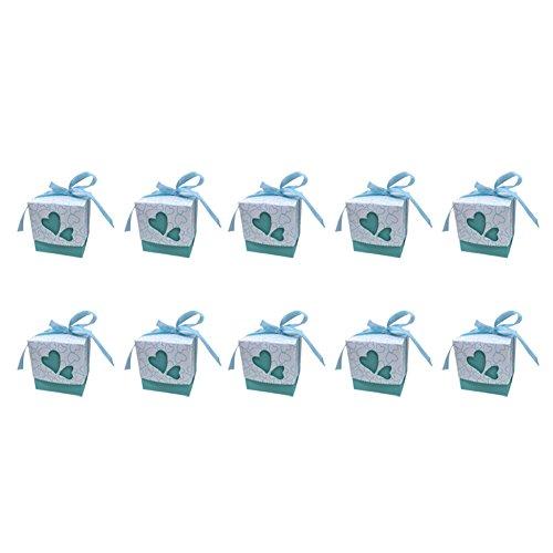 Monbedos 10 Candy Box mit Spitzenband Persönlichkeit Geschenk Papier Box Keks Kiste Deko behandelt Boxen für Kinder Geburtstag Baby Dusche Gäste Hochzeit Party Supplies, Himmelblau, 7 x 7 x 7 cm