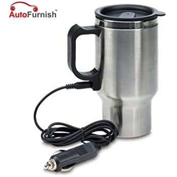 Autofurnish 12 Volt Car Universal Silver Double Wall Stainless Steel Travel Mug(No USB Charging Wire provided)