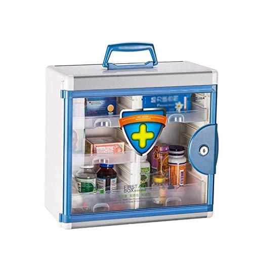 GOXJNG Medizin Box Set Safe Erste-Hilfe-Kit Wand befestigtes Medical Fach abschließbar Aluminium Kombination Schlüsselschrank mit Sicherheitsglastür Apotheke for Home Office